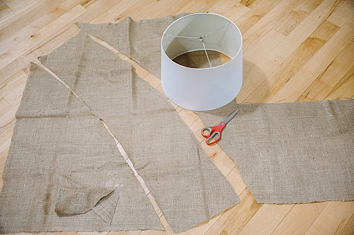 Cut out burlap for lamp shade