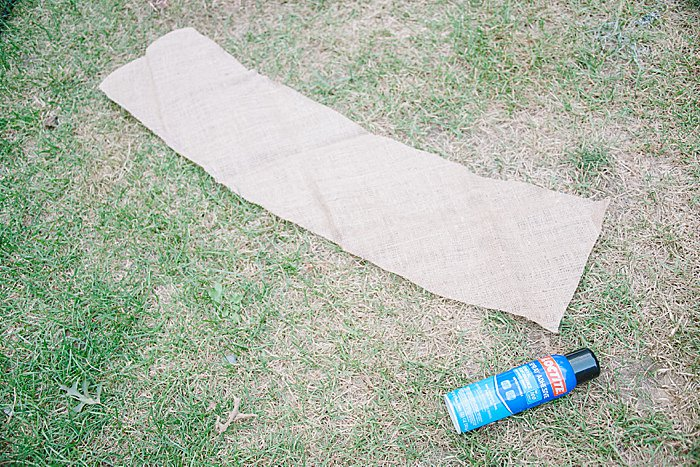 Spray adhesive on burlap
