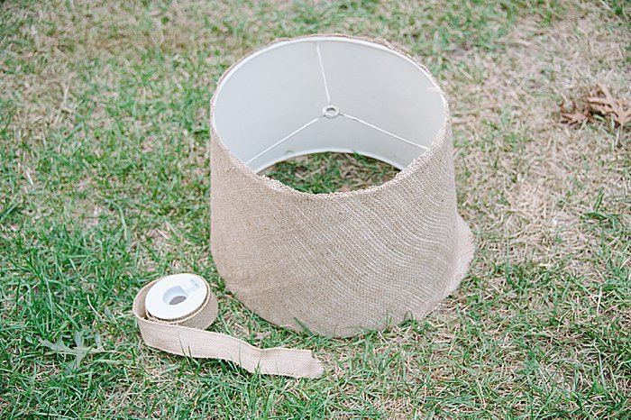 Step by step tutorial on how to cover a lampshade with burlap