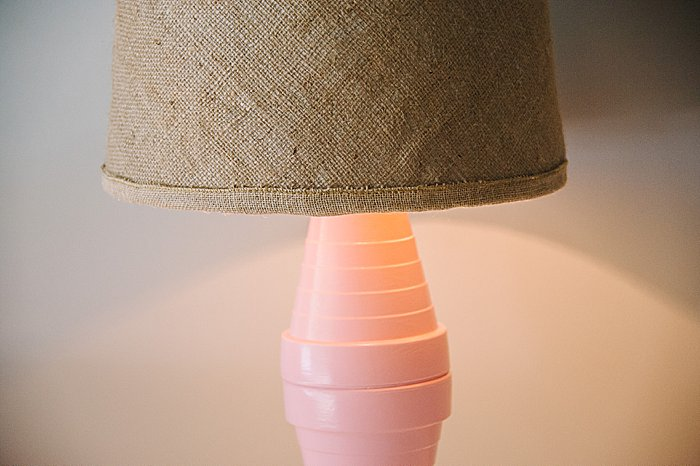 upcycled burlap lampshade