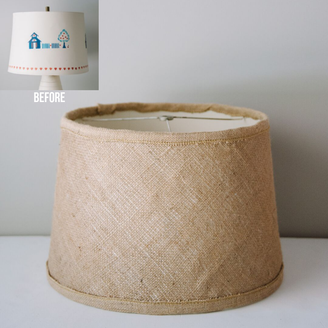 DIY Lampshade Makeover | Upcycled Burlap Lamp Shade