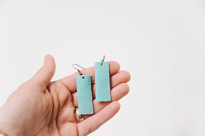 diy rectangle earrings made out of leather