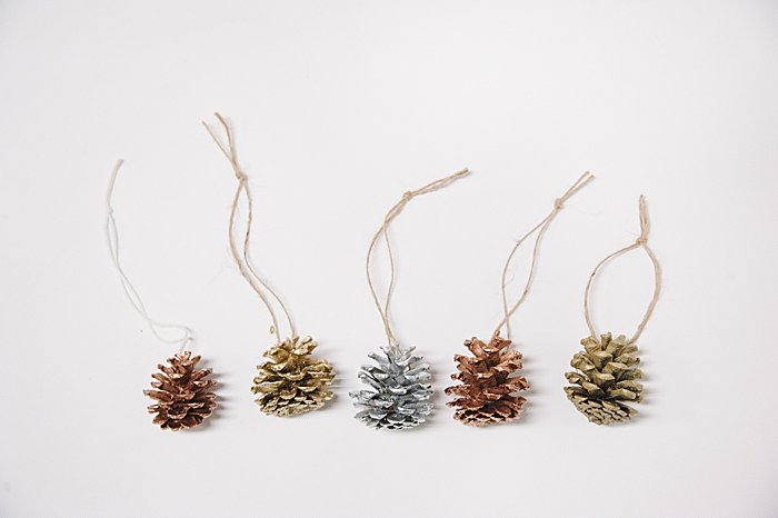 pine cone ornaments spray painted metallic