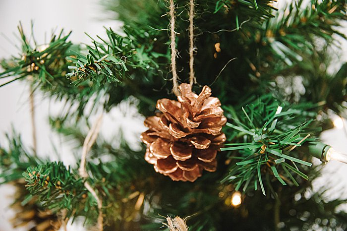 diy rose gold pinecone ornament