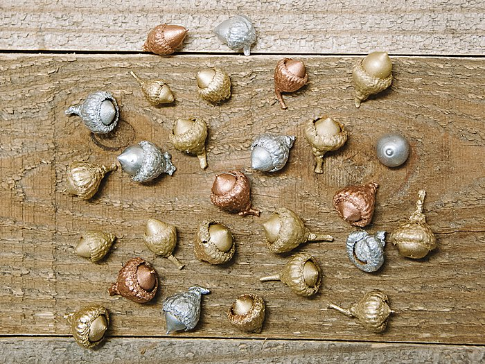 Painted acorns for crafts and home decor