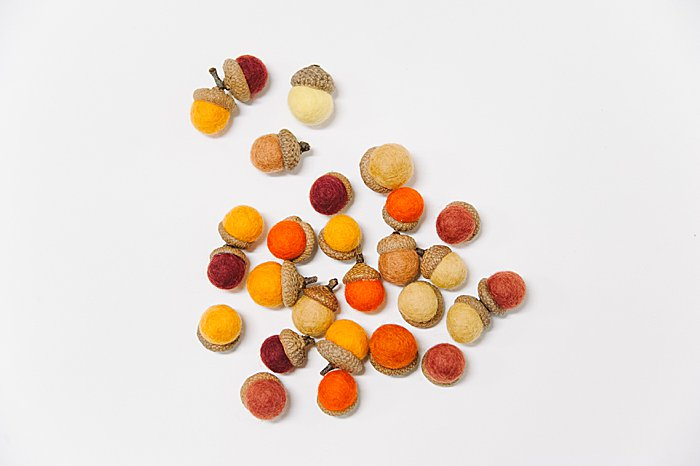 Acorns made with felt balls