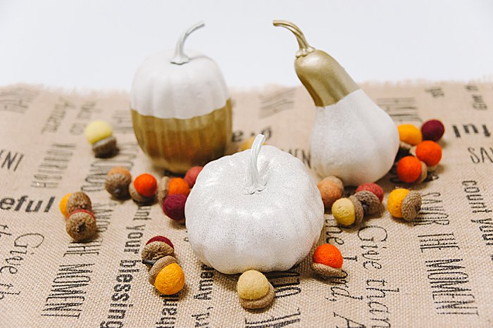 add felted acorns and painted pumpkins and gourds for a fall or thanksgiving table