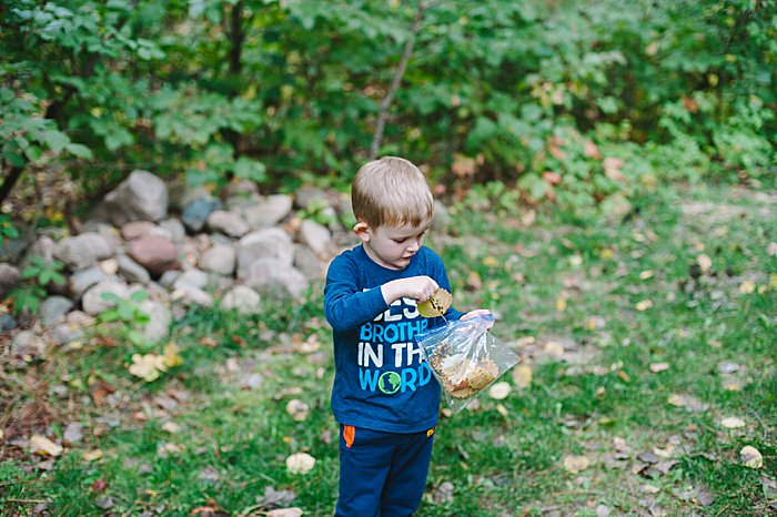 pick up leaves off the ground and use for leaf crafts for kids