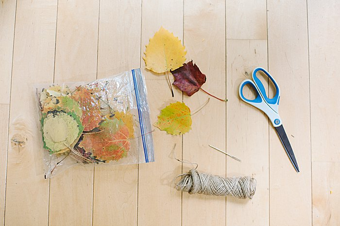 supplies needed to make an easy diy fall leaf garland