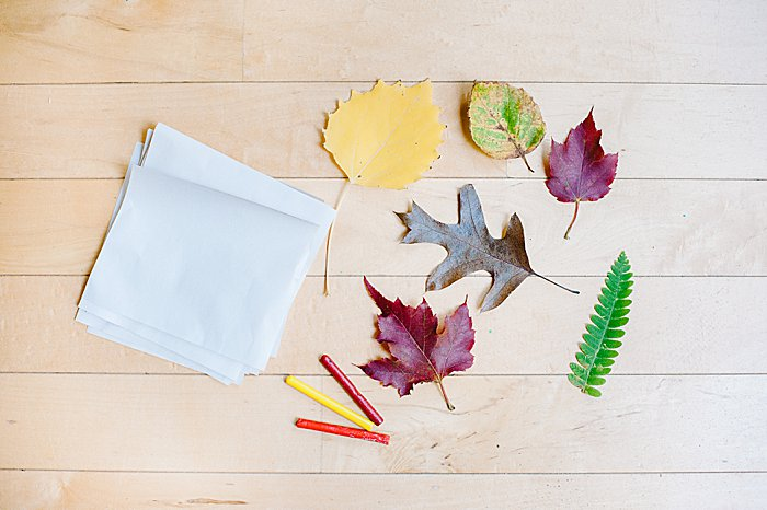 supplies for leaf rubbing craft