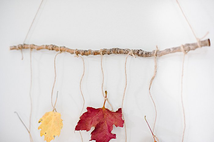 simple leaf wall art with hanging leaves