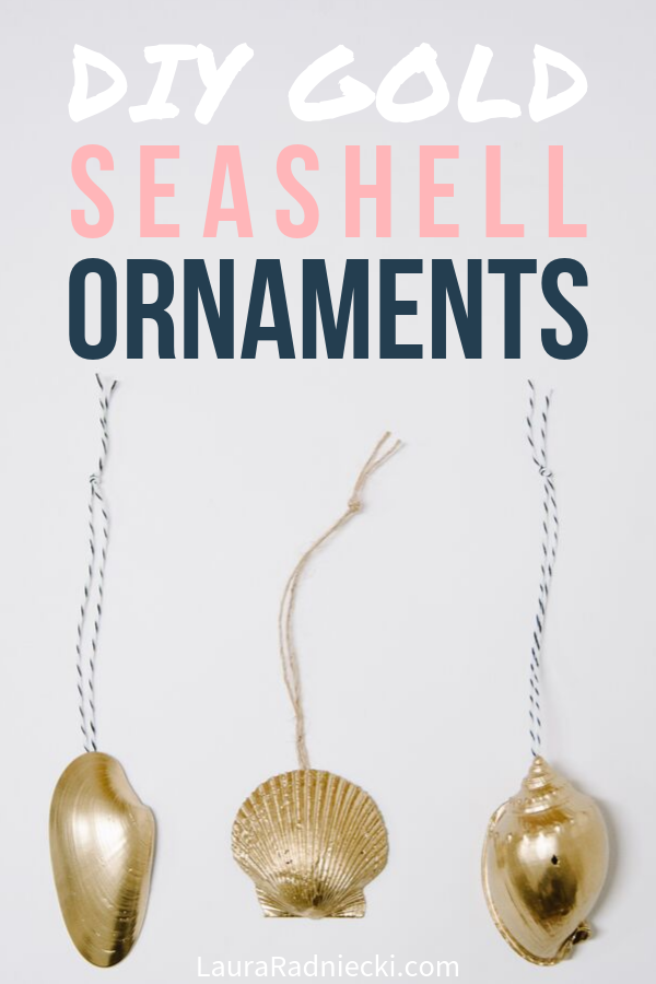 DIY Gold Seashell Ornaments for Christmas
