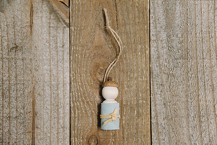 DIY acorn peg doll ornament