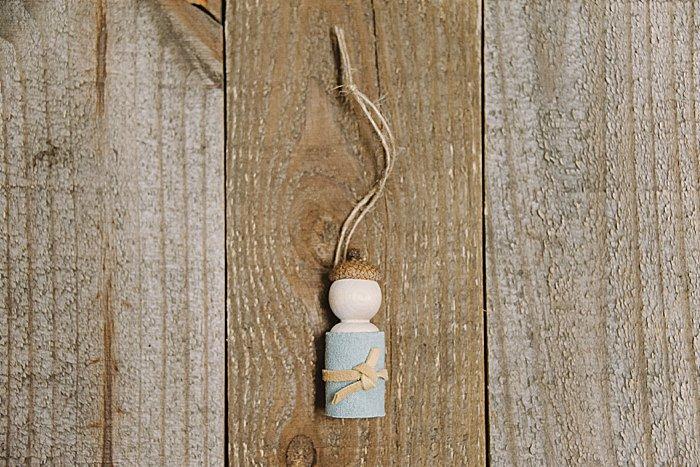 DIY acorn peg doll ornament