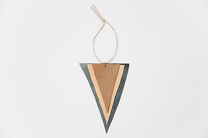 DIY Stacked Leather Triangle Ornament