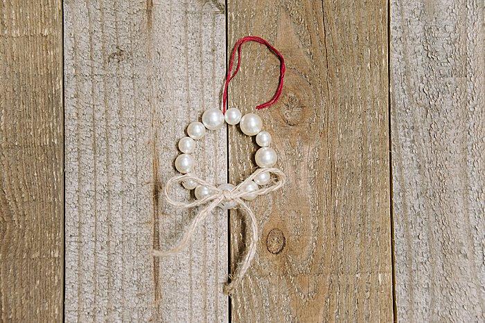 DIY Pearl Wreath Ornament Idea for Christmas