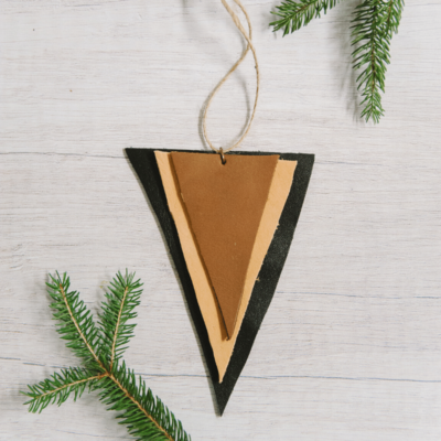 Day 21: How to Make a Stacked Leather Triangle Ornament | The 30 Days of Ornaments Project