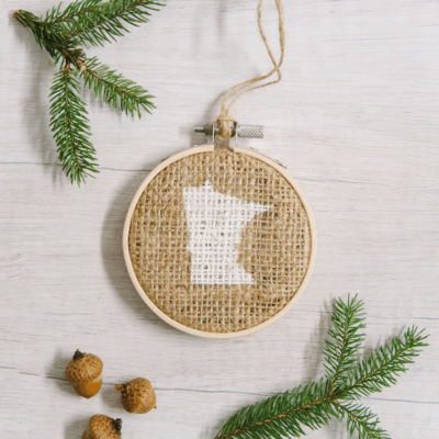 Day 26: How to Make a MN Stencil Embroidery Hoop Ornament | The 30 Days of Ornaments Project