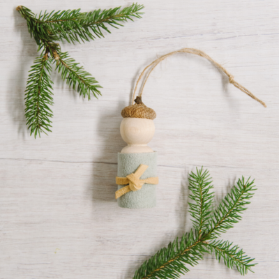 Day 7: How to Make an Acorn Peg Doll Ornament | The 30 Days of Ornaments Project