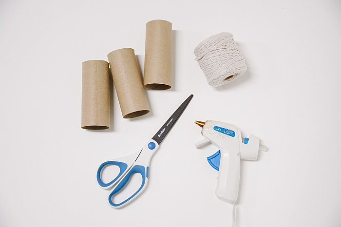 supplies needed to make a diy tassel garland made out of empty toilet paper rolls