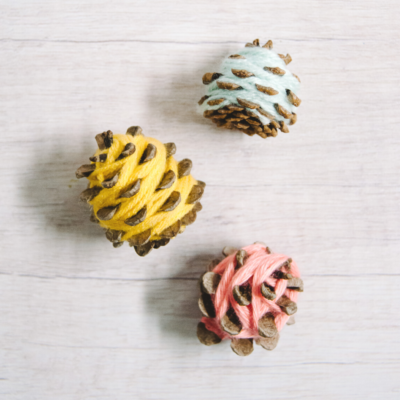 How to Make DIY Yarn-Wrapped Pine Cones