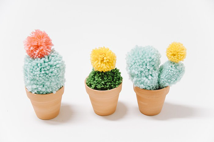potted faux cacti made with yarn