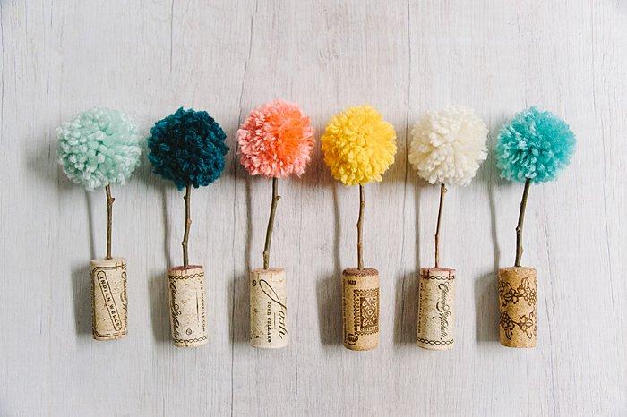 diy pom pom trees with yarn and wine corks