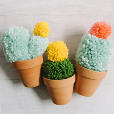 DIY Faux Cactus made with Yarn Pom Poms | Faux Potted Cacti