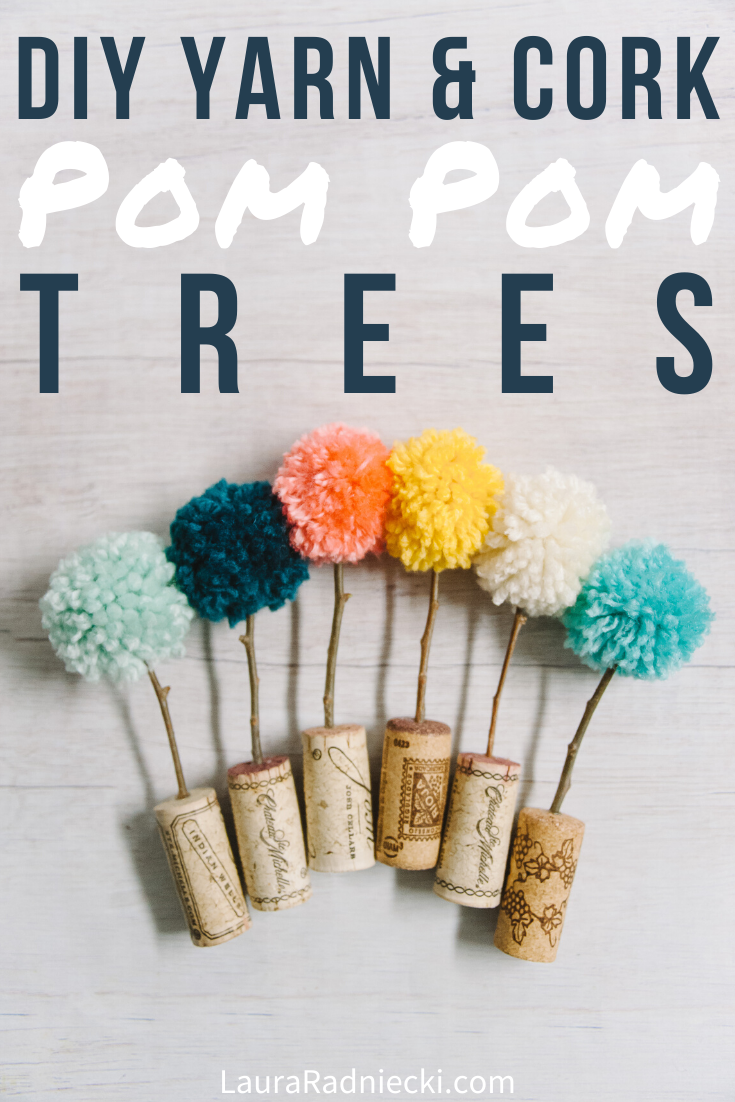DIY Pom Pom Trees in Cork Planters _ Easy Pom Pom Crafts