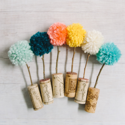 DIY Pom Pom Trees in Cork Planters | Easy Pom Pom Crafts