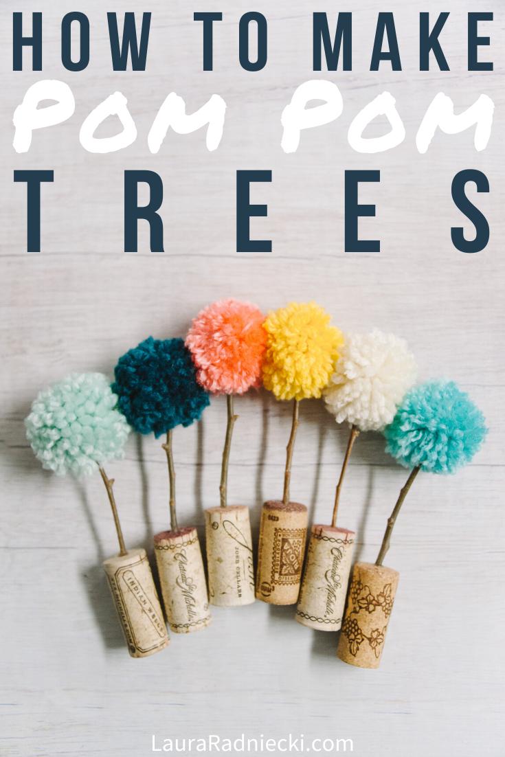 DIY Pom Pom Trees in Cork Planters | Easy Pom Pom Crafts