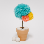 DIY Yarn Pom Pom Flower _ Faux Potted Flower Idea