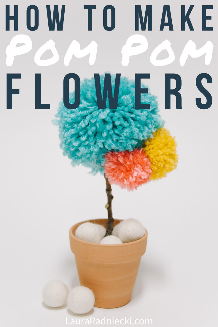 DIY Yarn Pom Pom Flower | Faux Potted Flower Idea