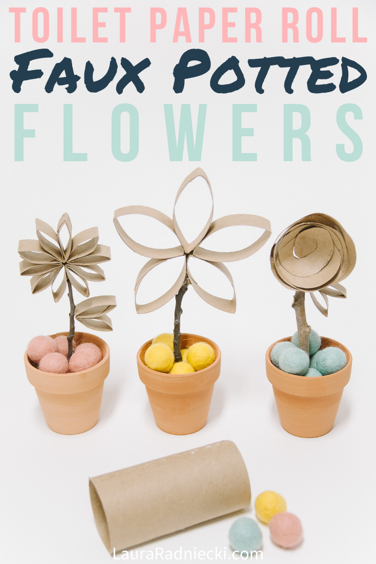 Faux Potted Flowers Made From Recycled Toilet Paper Rolls