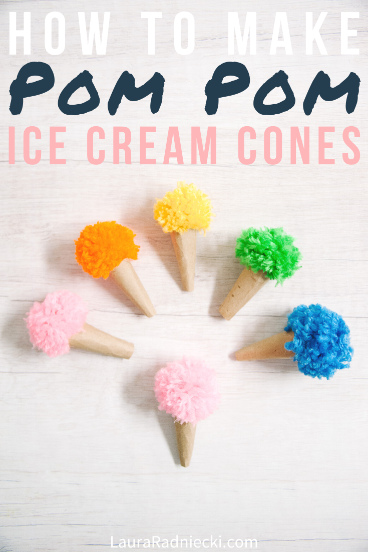 How to Make Pom Pom Ice Cream Cones | Toilet Paper Roll Crafts