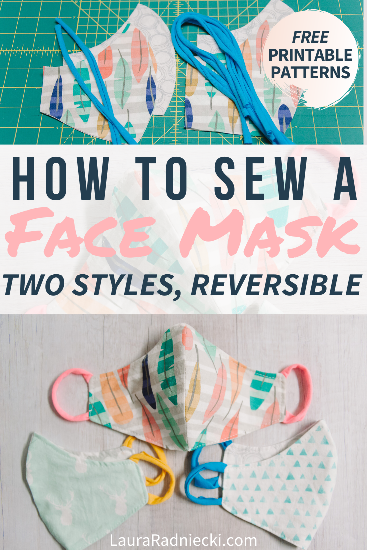 How to Sew a DIY Face Mask with Pattern _ Reversible, Two Styles, Mask with Ties and Ear Loop Mask