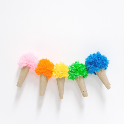 Ice Cream Pom Pom Garland Made with Yarn and Toilet Paper Rolls