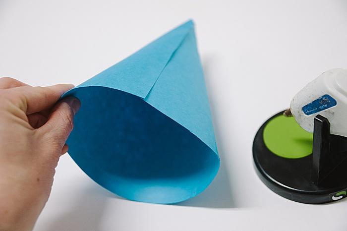 a paper cone secured with hot glue