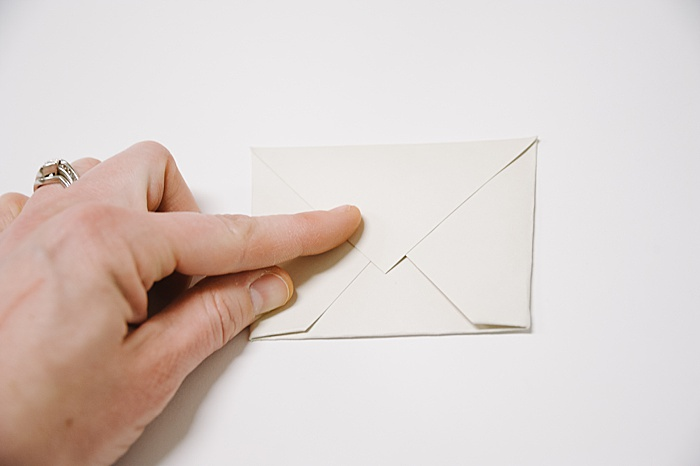fold the top corner of the paper down to complete the paper envelope