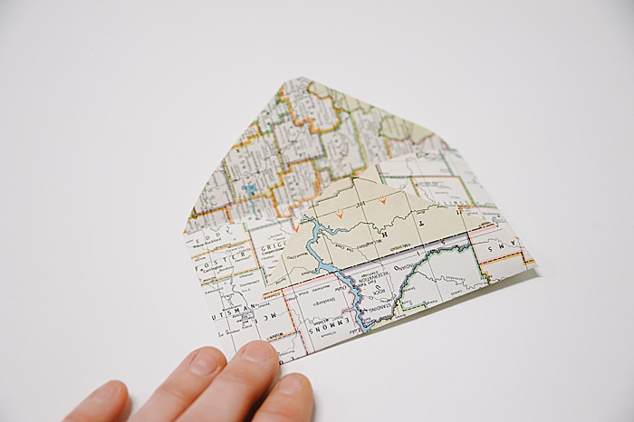 small diy paper envelope, made out of old maps