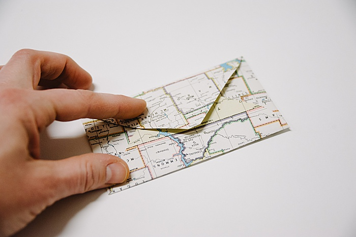 gift wrap small envelope handmade from old maps
