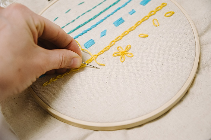 different embroidery stitches - fly stitch
