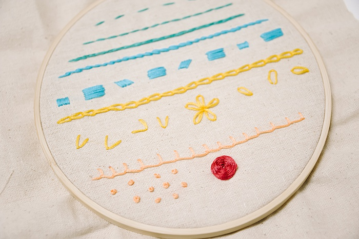 to make a woven wheel embroidery stitch, go over and under each stitch, repeat as the woven wheel rose embroidery stitch forms