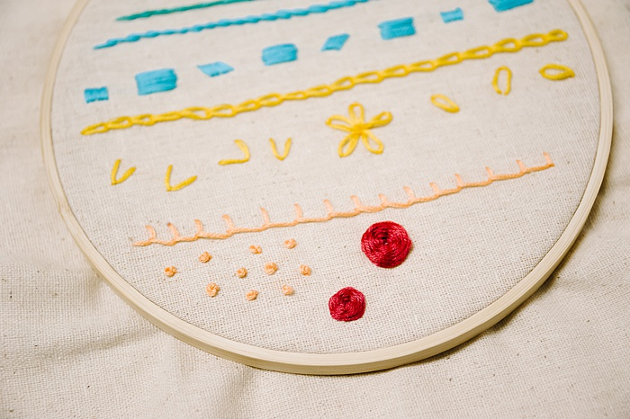 woven wheel stitch for embroidery looks like a rose