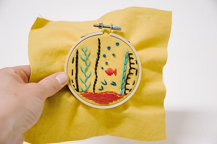 embroidery project underwater fish scene