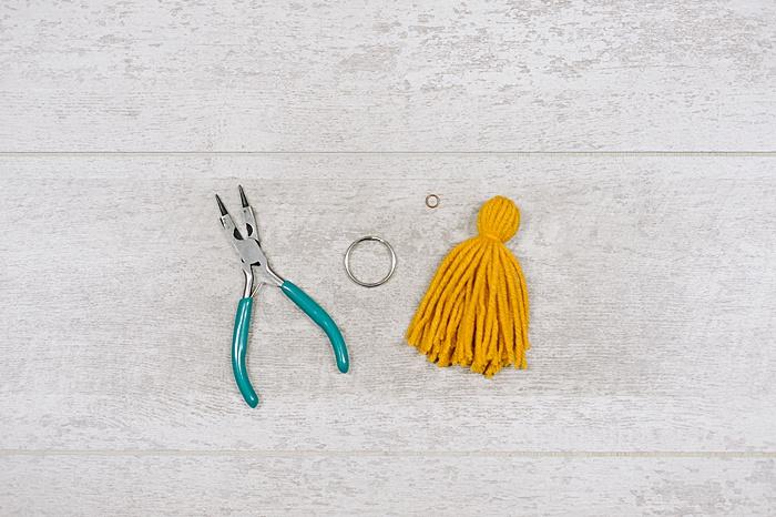 supplies needed to make a diy tassel keychain