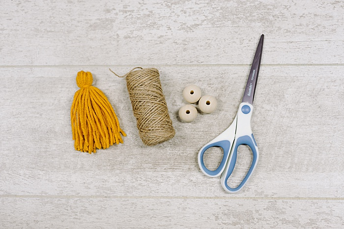 supplies to make Christmas tassel ornaments