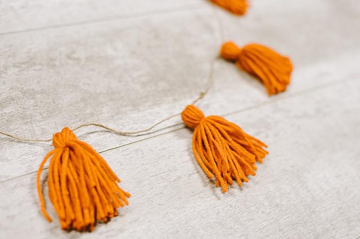 tassel garland made with yarn