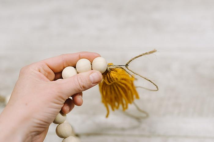 wood bead garland with tassel