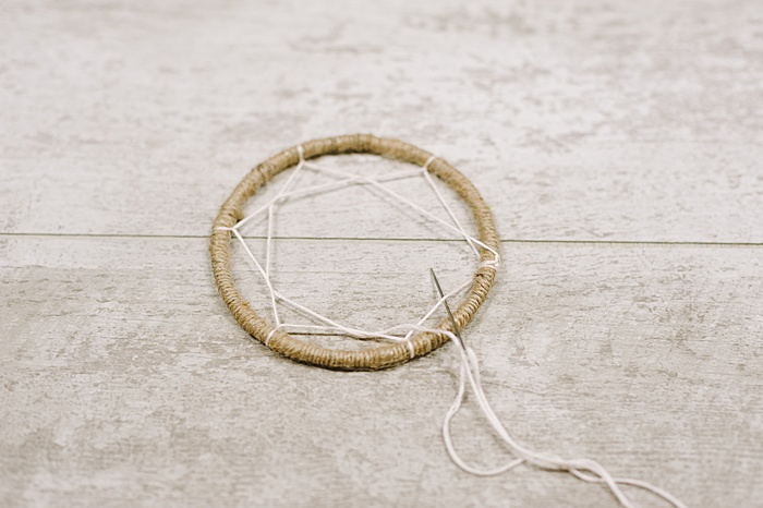 making the webbing on the inside of a dream catcher